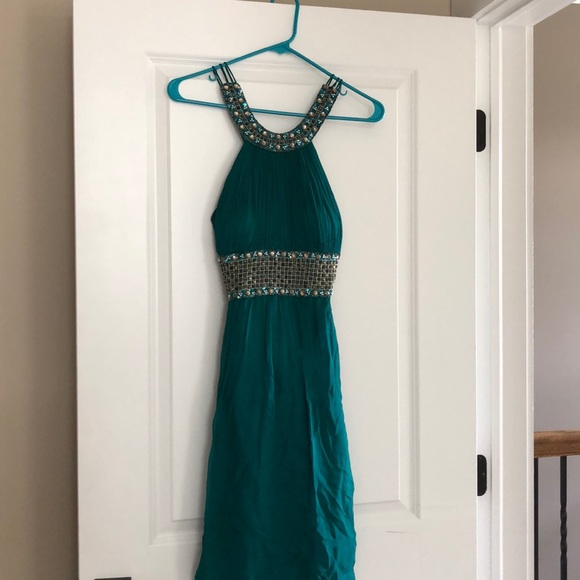 Cache Dresses & Skirts - CACHE Teal Beaded Cocktail Dress